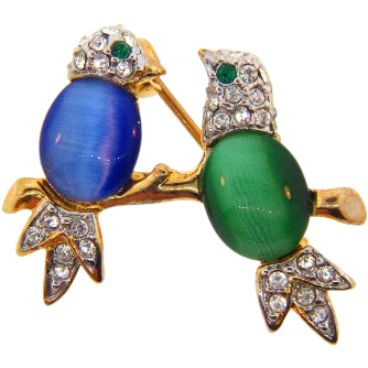 Sweet small double Bird Brooch with opaque cabochons and crystal rhinestones