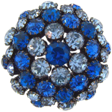 Signed Warner vintage domed rhinestone Brooch in shades of blue