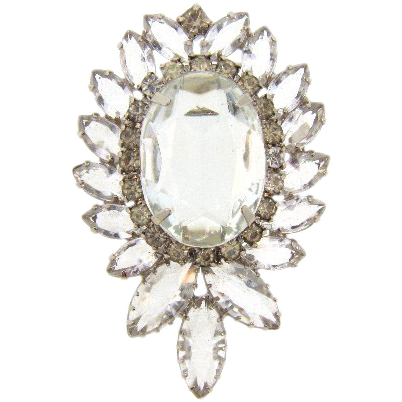 Lovely vintage brooch of all clear rhinestones with a row of crystal stones