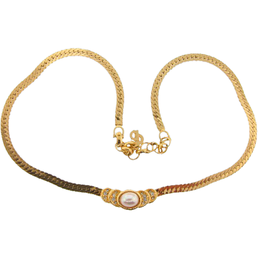 Signed Christian Dior  gold plated necklace with imitation pearl and rhinestones