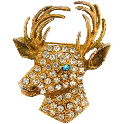 Large gold wash deer head Brooch with rhinestones