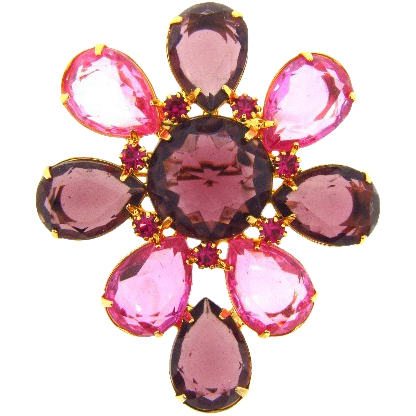Large flower rhinestone Brooch with bright pink and deep purple stones
