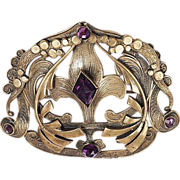 Gorgeous Victorian Sash pin with purple glass stones