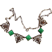Fine gold tone link choker necklace with peking glass squares