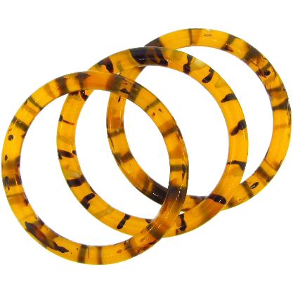 Trio of lucite tiger striped Bangle Bracelets