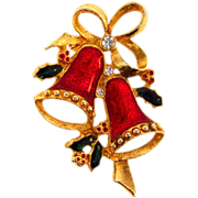 Christmas Brooch with bells,holly and bow