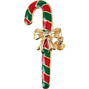 Candy Cane Christmas brooch red & green enameling