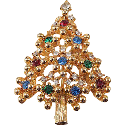 Christmas Tree brooch/pendant brightly colored ornaments gold tone