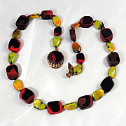 Unusual Austrian Art glass bead necklace fall/winter colors