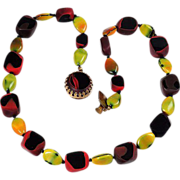 Unusual Austrian Art glass bead necklace fall/winter colors