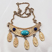 Egyptian Revival gold tone necklace crescent shaped pendant with drops