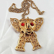 Vintage Juliana (D & E) large articulated 2 pc Elephant necklace gold tone