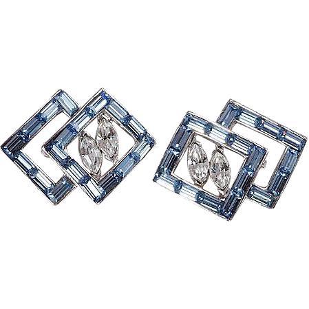 Scatter pins matching pair blue & crystal rhinestones