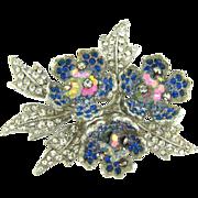 Vintage rhinestone floral Brooch with a trio of blue rhinestone flowers
