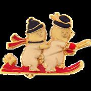 Cute Seasonal Snowmen figural Brooch