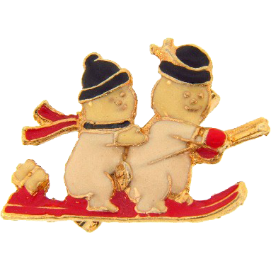 Cute Seasonal Snowmen figural Brooch