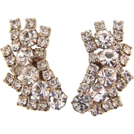 Brilliant crystal vintage rhinestone clip on earrings