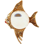 Small vintage fish brooch with clear glass belly and rhinestones