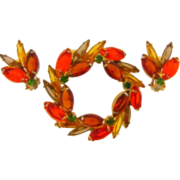 Brilliant Autumn colored vintage rhinestone brooch and clip on earrings