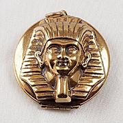 Egyptian Revival large King Tut Pharaoh gold tone Locket