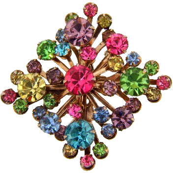 Retro 1950's square brooch with multicolored rhinestones