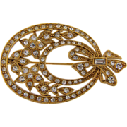 Lovely oval brooch floral design with crystal rhinestones