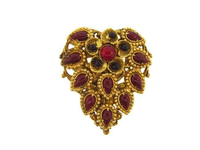 Marked Czechoslovakia gold tone floral design dress clip