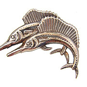 Marked Sterling figural brooch of swordfish