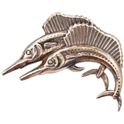 Marked Sterling figural brooch of swordfish