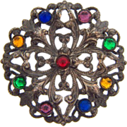Early C clasp circular small scatter pin with glass stones
