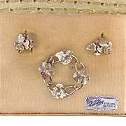 Tru-Kay Sterling Originals brooch and clip on earrings set in Original Box