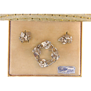 Tru-Kay Sterling Originals brooch and clip on earrings set in Original Box