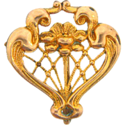 Small gold filled watch pin in an Art Nouveau style