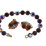 Gorgeous deep purple rhinestone bracelet and matching clip on earrings