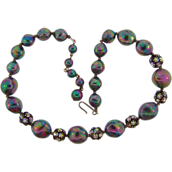 Unusual iridescent composition bead choker necklace with AB rhinestones.