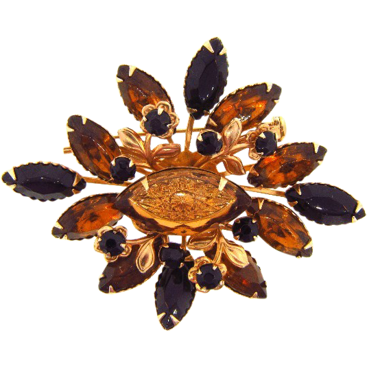 Signed Cathe black and amber floral rhinestone brooch