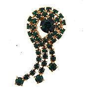 Vintage 1960's green rhinestone brooch with dangles