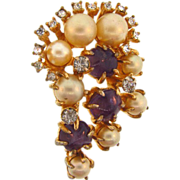 Signed Marvella early large abstract brooch with imitation pearls and amethyst glass stones