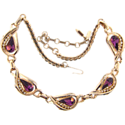 Signed Barclay gorgeous choker necklace with large deep purple tear drop glass stones