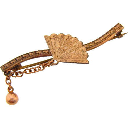 Gold filled Edwardian bar pin with decorative fan, chain and dangling ball