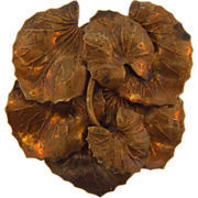 c1940's Dress Clip of overlapping leaves
