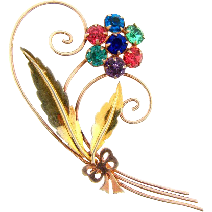 Marked Sterling with the Uncas logo vermeil 1940's floral brooch with rhinestones