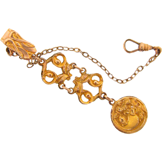 Vintage Art Nouveau Ladies gold filled watch chain and fob