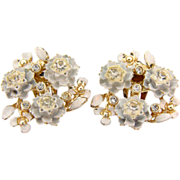 Vintage clip on earrings with  white flowers and crystal rhinestones