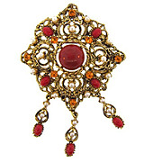 Fabulous raise filigree style brooch with rhinestones and white imitation pearls