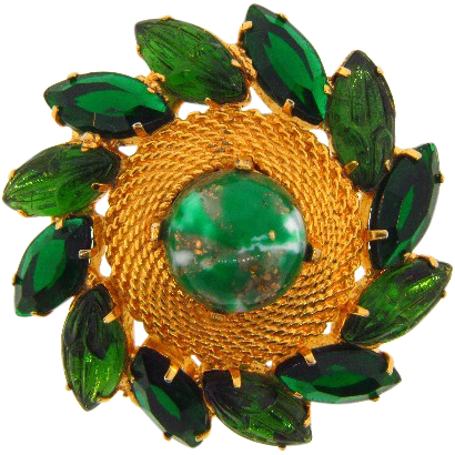 Beautiful vintage gold tone brooch with green glass rhinestones and cabochon