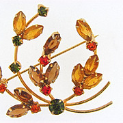 Lovely floral design rhinestone Brooch in Autumn colors