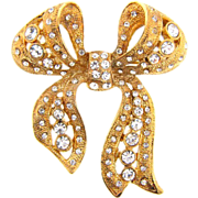 Bright gold tone large bow Brooch with crystal rhinestones