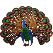 Signed Topazio Portugal 925 vermeil peacock brooch