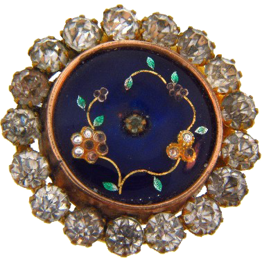 Early 1900's circular small brooch with enamel work and paste stones